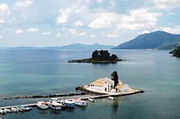 17th century Vlaheraina monastery and Pontikonisi Island Mouse Island seen from hills of Kanoni, Corfu Island, Greece