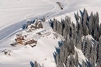 Wallberghaus mountain lodge seen from Mt. Setzberg, Mt. Wallenberg, Upper Bavaria, Bavaria, Germany, Europe