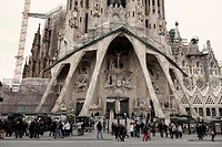 Passion facade of the Sagrada Familia temple by Gaudí  Barcelona  Spain