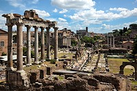View of the Roman Forum with the Colosseum in the distance in Rome, Italy