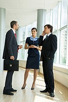 Confident business partners standing in office building and discussing work