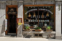 Entrance and window of a bistro, restaurant in Vieux Montreal, Old Montreal, Quebec, Canada, North America