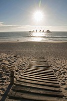 Dolphin Beach with bulk carrier, Table View, Cape Town, Western Cape Province, South Africa
