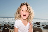 Smiling girl on beach 2_3, Cape Town, Western Cape Province, South Africa