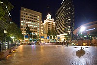 View of the Pioneer Courthouse Square and the Jackson Tower, Portland, Oregon, USA