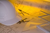 Hard hat and Architects Blueprint