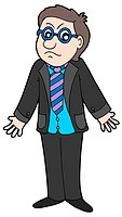 Sad businessman on white background _ isolated illustration.