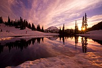 Sunrise at Tipsoo Lakes and Mount Rainier