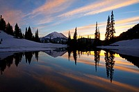 Sunset at Tipsoo Lakes and Mount Rainier