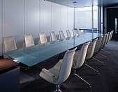 Conference room with a glass table