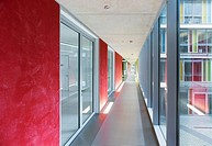 Brightly colored office hallway