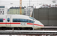 ICE Munich main train station in Winter