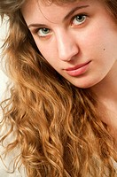 Portrait of young woman. Close view.