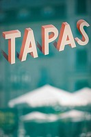 Tapas sign, Plaza Santa Ana, Madrid, Spain