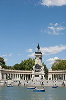 Lake and Alfonso XII Monument in Retiro Park, Madrid, Spain