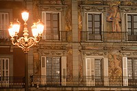 Facade at night, Panaderia, Plaza Mayor, Madrid, Spain