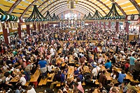 Interior of beer tent at Oktoberfest, Munich, Germany