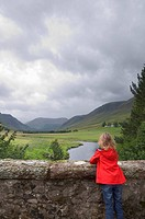 Girl 10_11 on bridge, Glen Clova, Angus, Scotland, U.K