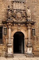 Entrance to the Merseburger Schloss castle, circa 1470, Domplatz 7, Merseburg, Saxony-Anhalt, Germany, Europe