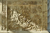 Ornamental relief with flora and fauna, Altar of Augustan Peace, Ara Pacis Augustae, westside, Rome, Lazio, Italy, Europe