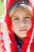 Boy dressed as Native American