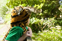 Boy dressed up as tiger