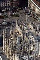 Italy, Lombardy, Milan, the Duomo, aerial view...