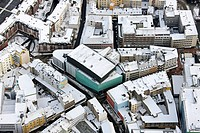 Aerial view, Konzerthaus Dortmund opera house in the snow, Brueckstrasse street, Dortmund, Ruhrgebiet region, North Rhine-Westphalia, Germany, Europe