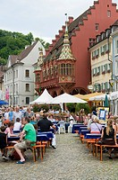 Restaurant on the Muenstermarkt square, Freiburg, Baden_Wuerttemberg, Germany, Europe