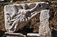 Turkey, Kusadasi, Ephesus, Historic Roman ruins, Relief Sculpture of Nike, the goddess of victory at Ephesus                                          ...