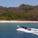 Costa Rica, Puntarenas Region, Near Cobano, Pacific coast, Beach, Boat...