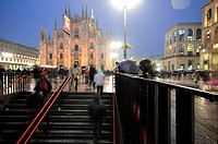 Italy, Lombardy, Milan, Piazza Duomo at Night                                                                                                         ...