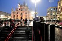 Italy, Lombardy, Milan, Piazza Duomo at Night...