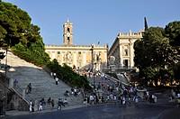 Steps, Palazzo Senatorio Senators' Palace, Palazzo dei Conservatori Conservators' Palace, Piazza del Campidoglio Capitol Square, Rome, Lazio, Italy, E...