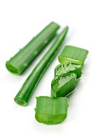 Close up of aloe vera plant pieces isolated on white background