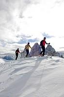 Ski touring, Mt. Sextner Stein, Tre Cime di Lavaredo peaks, Sexten, Hochpustertal valley, South Tyrol, Italy, Europe
