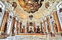 Emperor´s Hall in the Benedictine Abbey Ottobeuren, Bavaria, Germany, Europe