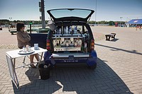 Lithuania, Western Lithuania, Klaipeda, Old Ferry Port, Smart car with built-in Espresso machine