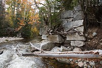 Remnants of an trestle along the old Profile & Franconia Notch Railroad in Bethlehem, New Hampshire USA  This trestle crossed the Gale River  The rail...