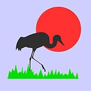 vector silhouette of the crane on background red sun