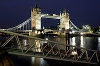 Tower Bridge and Thames River at night, London, England, United Kingdom, Europe