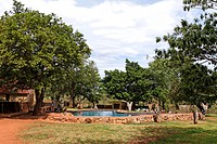 Lower Sabie rest camp, swimming pool, Kruger National Park, South Africa