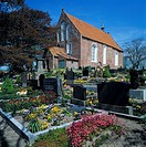Germany, Dornum, North Sea, East Frisia, Eastern Frisia, Lower Saxony, Saint Bartholomaeus church, evangelic church, churchyard, graves, gravestones