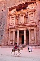 Façade of the treasury, Khazne Faraun, in the Nabataean city Petra, Unesco World Heritage Site, near Wadi Musa, Jordan, Middle East, Orient