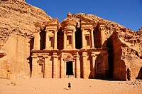 Facade of the procession monastery Ed_Deir in the Nabataean city of Petra, World Heritage Site near Wadi Musa, Jordan, Middle East, Orient