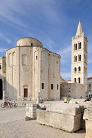 Roman Forum with the Church of St. Donatus and the campanile of the Cathedral of St. Anastasia in Zadar, Croatia, Europe