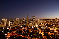 Elevated view from Coit Tower at night, San Francisco, downtown, California, United States of America