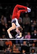 Joseph Hagerty, USA, on the high bar, EnBW Gymnastics World Cup 2009, Porsche-Arena, Stuttgart, Baden-Wuerttemberg, Germany, Europe