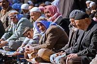 Group of muslim people praying in a mosque, Sanliurfa, Turkey, Asia
