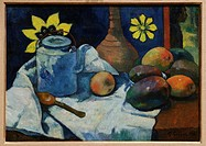 Still Life with Teapot and Fruit, 1896, by Paul Gauguin, French, Oil on canvas, 18 3/4 x 26 in  47 6 x 66 cm, Metropolitan Museum of Art, New York Cit...